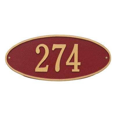 Madison Standard Oval Red/Gold Wall 1-Line Address Plaque