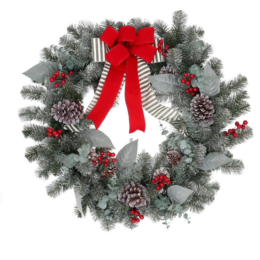 Home Accents Holiday 30 in. Mixed Ball Christmas Glitter Wreath