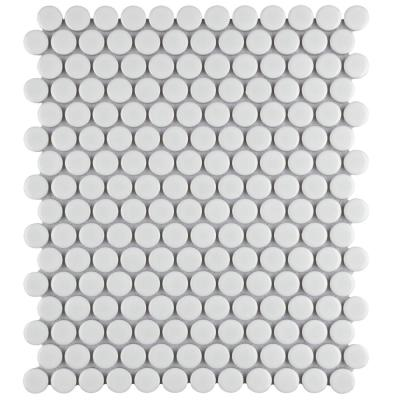 Metro Penny Glossy White 9-3/4 in. x 11-1/2 in. x 5 mm Porcelain Mosaic Tile (15.94 sq. ft. /Case)