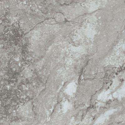 Take Home Sample - White and Gray Travertine Peel and Stick Vinyl Tile Flooring - 5 in. x 7 in.