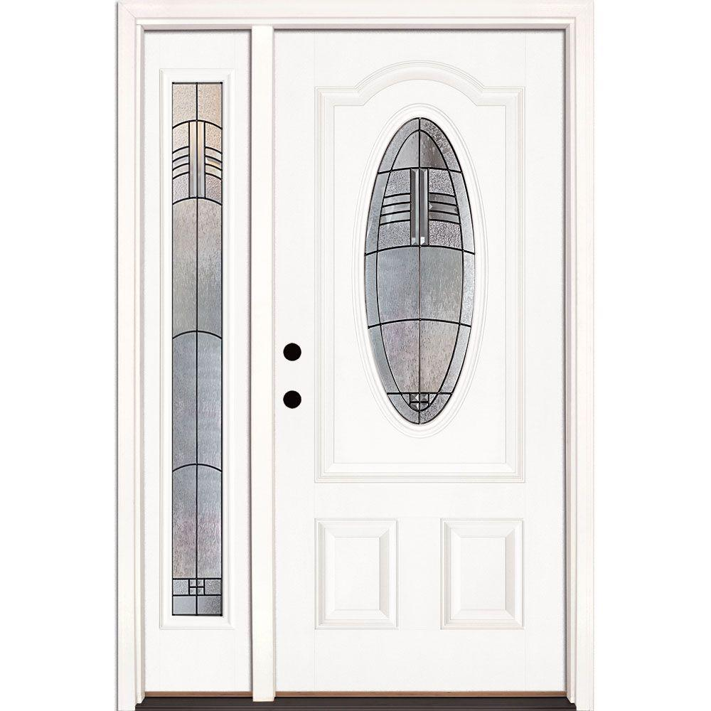 Feather River Doors 50.5 in.x81.625 in. Rochester Patina 3/4 Oval Lt Unfinished Smooth Right-Hand Fiberglass Prehung Front Door w/ Sidelite