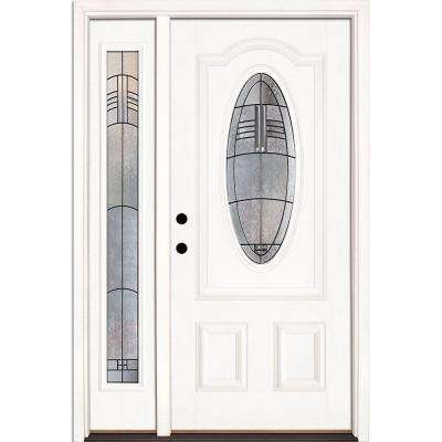 50.5 in.x81.625 in. Rochester Patina 3/4 Oval Lt Unfinished Smooth Right-Hand Fiberglass Prehung Front Door w/ Sidelite