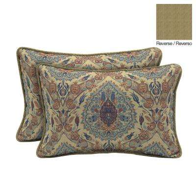 Tivoli Damask Lumbar Outdoor Throw Pillow (2-Pack)