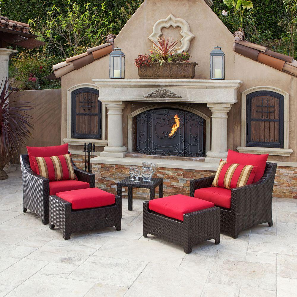 RST Brands Deco 5-Piece Patio Chat Set with Cantina Red Cushions