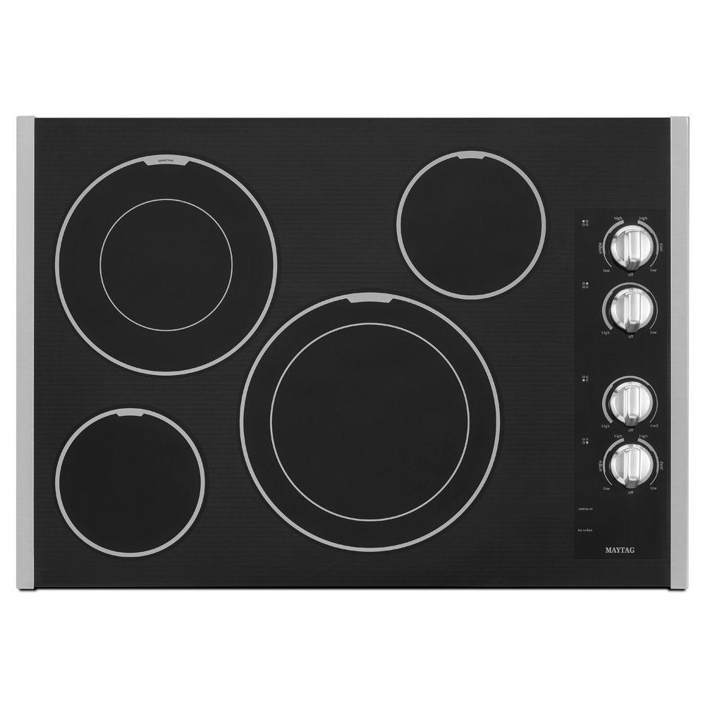 Maytag 30 in. Ceramic Glass Electric Cooktop in Stainless Steel with 4 Elements including Dual Choice Elements