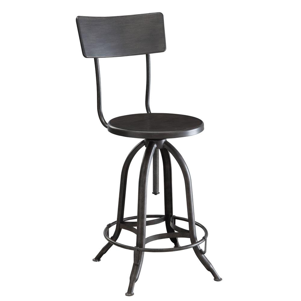 Carolina Cottage Wyndall Industrial 24 In. To 30 In. Adjustable Metal Stool