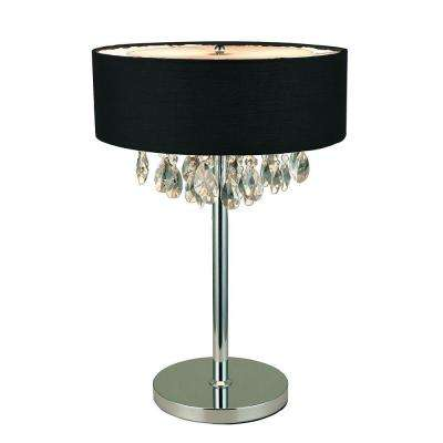 Romazzino Crystal Collection 22.25 in. Chrome Table Lamp with Black Ruched Fabric Drum Shade