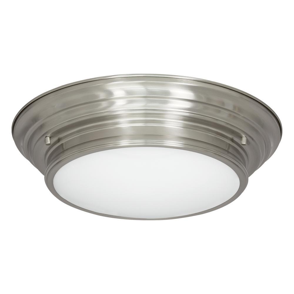 15.25 in. Boundless Collection 17-Watt Brushed Nickel Integrated LED Flushmount