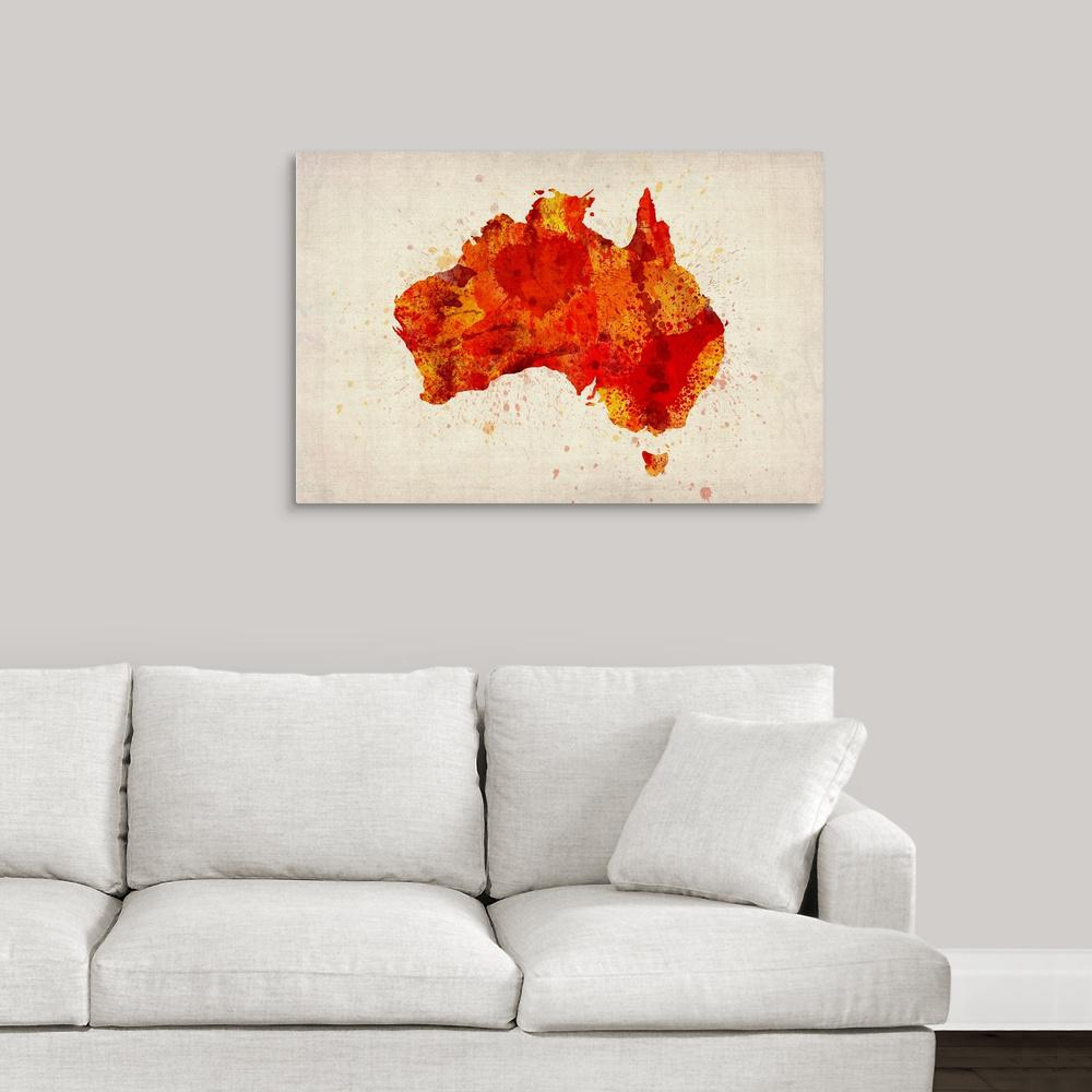 Greatbigcanvas paint splatter map of australia orange by michael greatbigcanvas paint splatter map of australia orange by michael tompsett canvas gumiabroncs Image collections