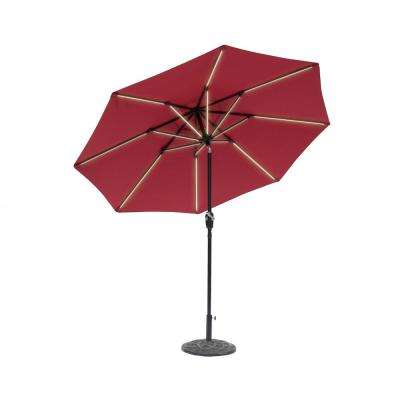 9 ft. Round Next Gen Solar Lighted Market Patio Umbrella in Scarlet