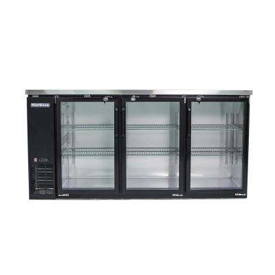 72 in. 20 cu. ft. 3-Door Under Bar Refrigerator in. Black