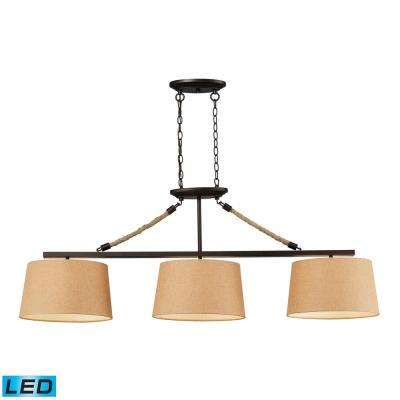 Elegant Natural Rope 3 Light LED Aged Bronze Billiard Light