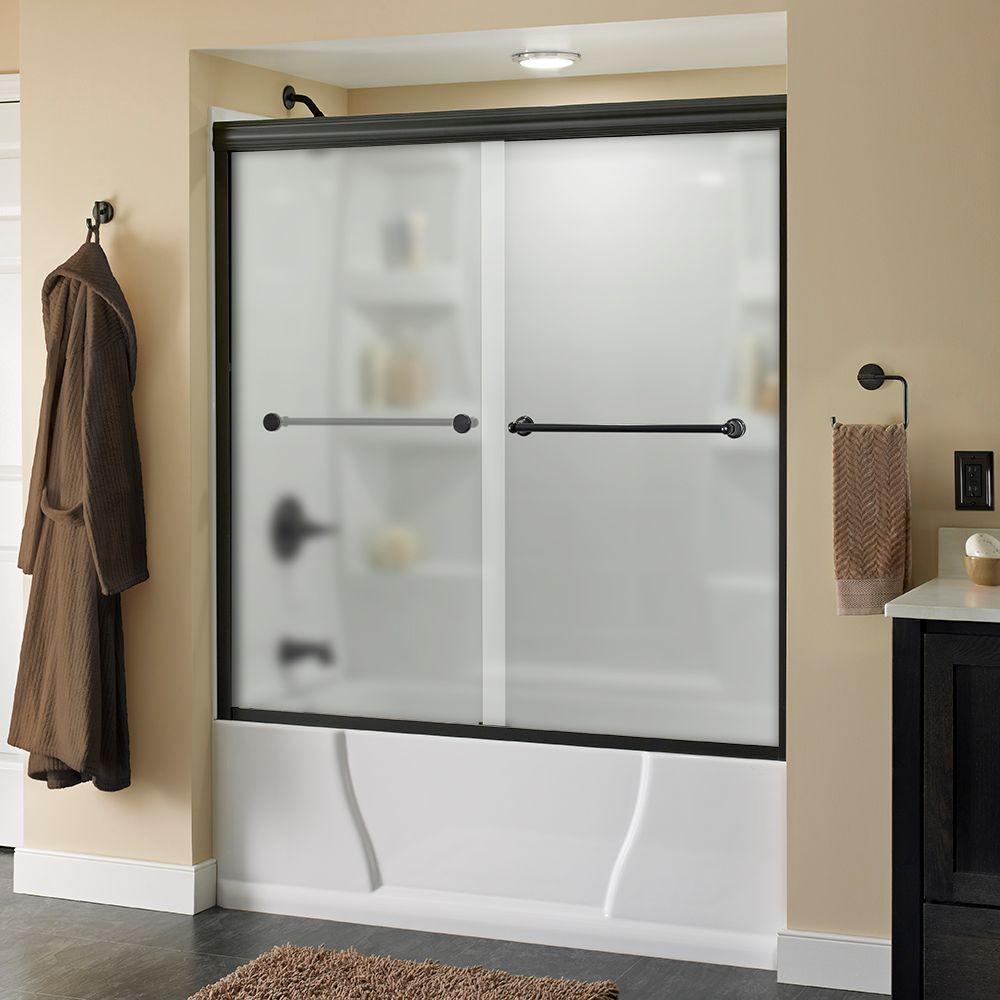 Delta Crestfield 60 In X 58 1 8 Semi Frameless Sliding Bathtub Door Bronze With Niebla Glass 170111 The Home Depot