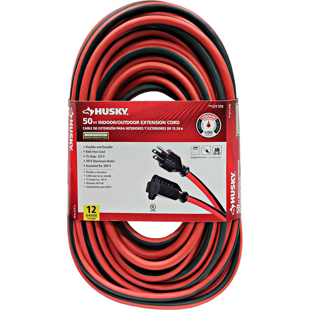 Husky 50 Ft 12 3 Indoor Outdoor Extension Cord Red And