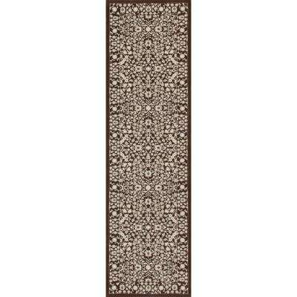 Kensington Microfloral Brown 2 ft. x 8 ft. Runner Rug