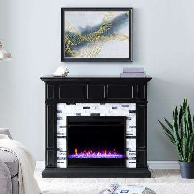 Etta Color Changing 46 in. Electric Fireplace in Black with White and Gray