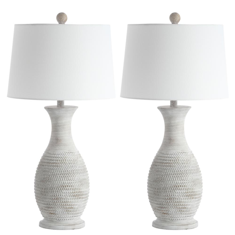 Safavieh Bentlee 30 In Grey Textured Hue Table Lamp With White Shade Set Of 2 Tbl4131a Set2 The Home Depot