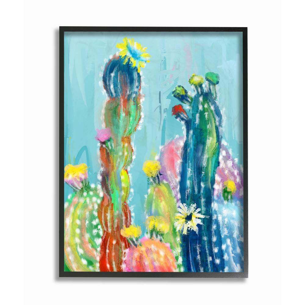 Stupell Industries 16 In X 20 In Bold Bright Blue Abstract Cacti