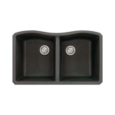 Aversa Undermount Granite 31 in. Equal Double Bowl Kitchen Sink in Black
