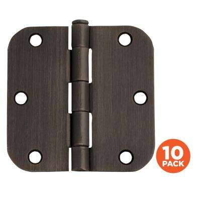 3-1/2 in. x 5/8 in. Radius Oil Rubbed Bronze Door Hinge Value Pack (10 per Pack)