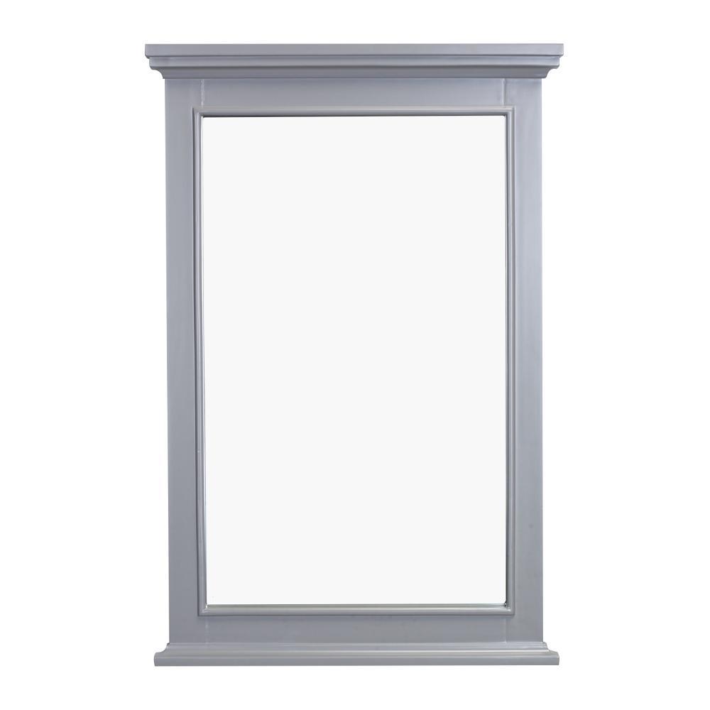 Elite 24 in. W x 36 in. H Framed Rectangular Bathroom Vanity Mirror in Grey