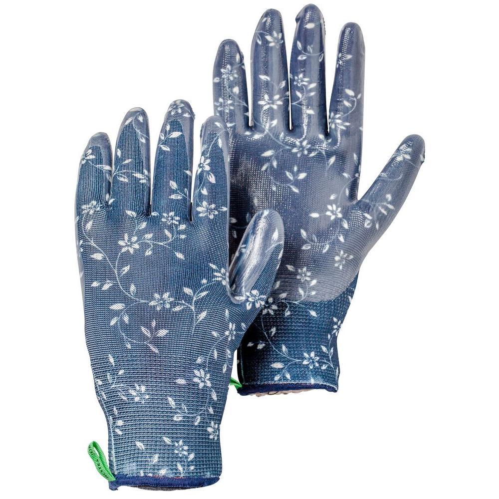 Medium Indigo Nitrile-Dipped Garden Gloves