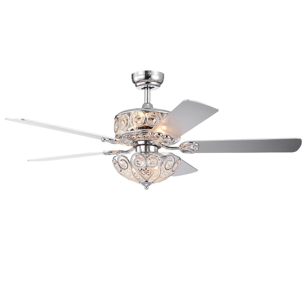 Warehouse of Tiffany Catalina 52 in. Chrome Remote Controlled Ceiling Fan with Light Kit