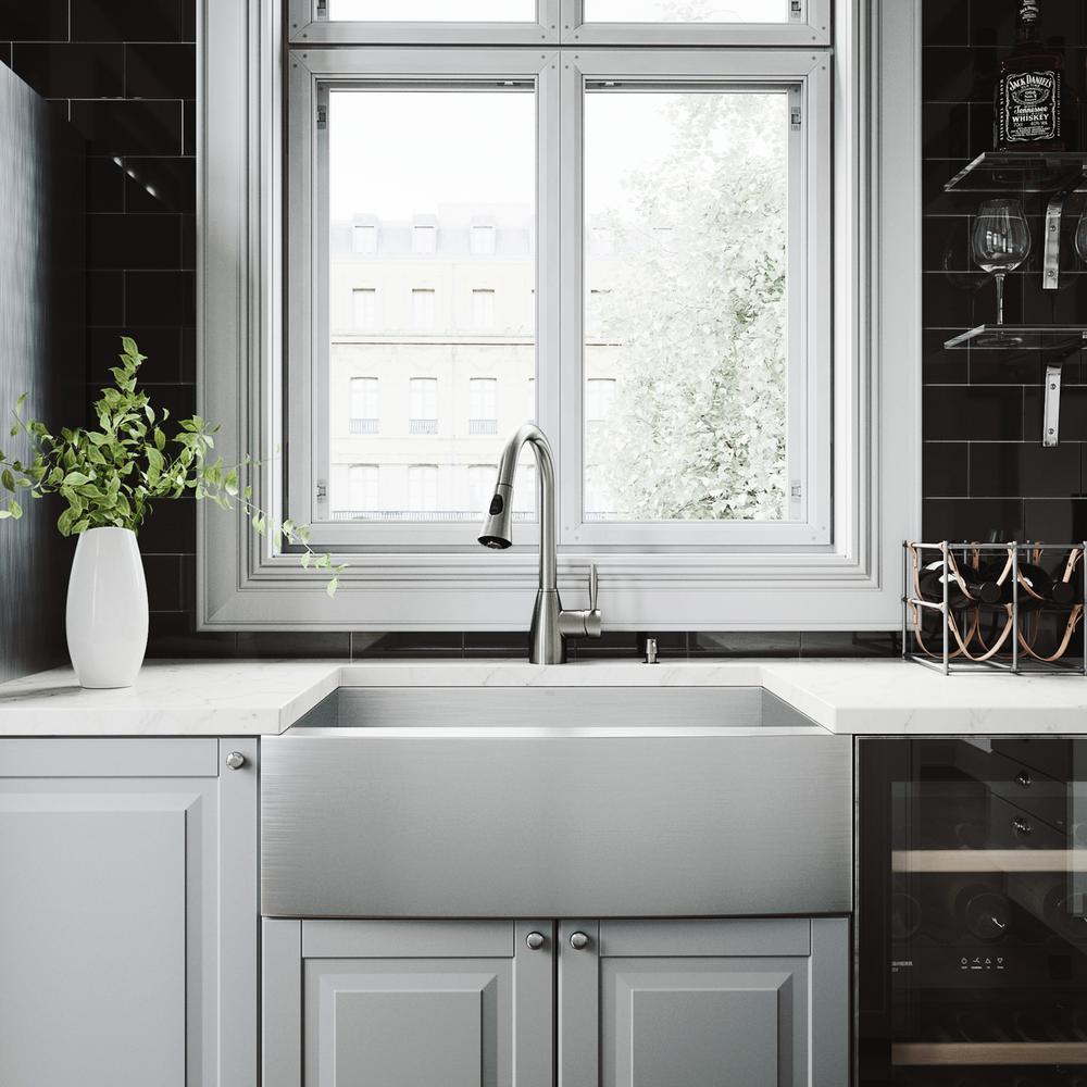 Apron Kitchen Sink: VIGO All-in-One Farmhouse Apron Front Stainless Steel 30