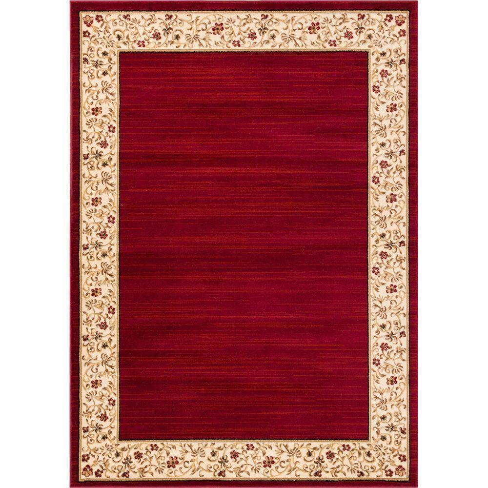 Well Woven Barclay Terrazzo Red 5 ft. 3 in. x 7 ft. 3 in. Transitional Border Area Rug