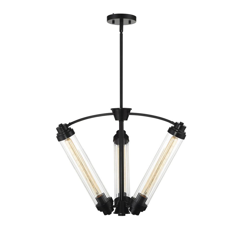 Filament Design 3-Light Classic Bronze Chandelier with Clear Ribbed Glass