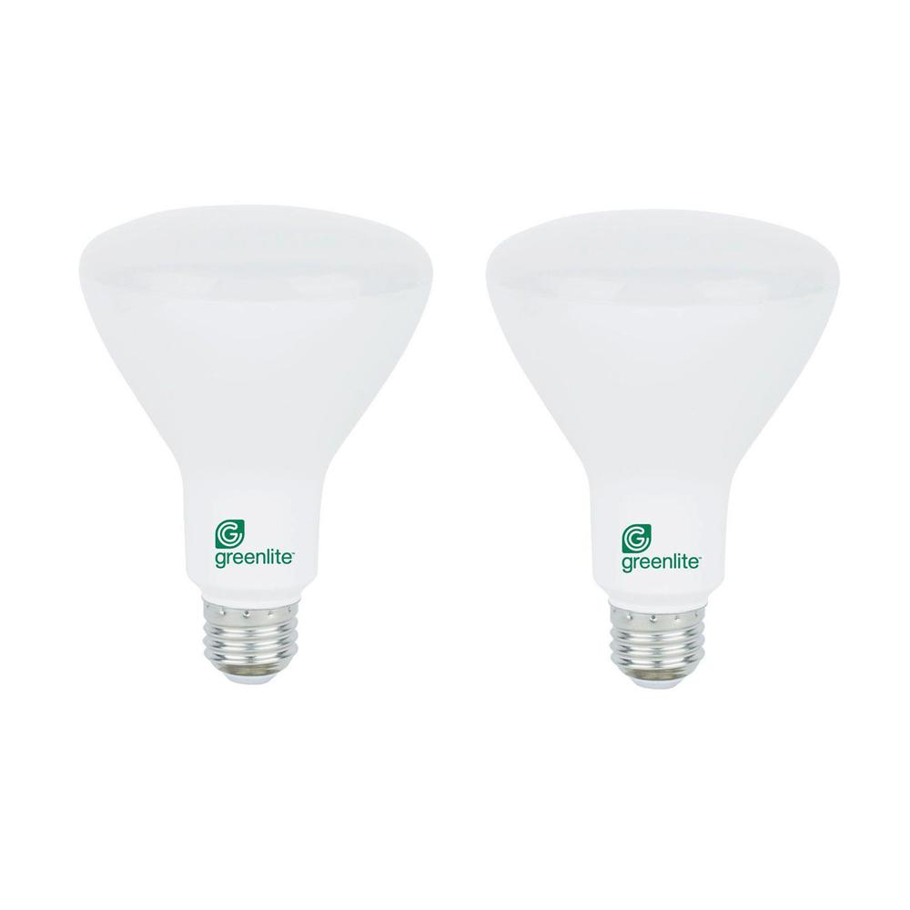 Exceptional Greenlite 65W Equivalent Soft White BR30 Dimmable LED Light Bulb (2 Pack)