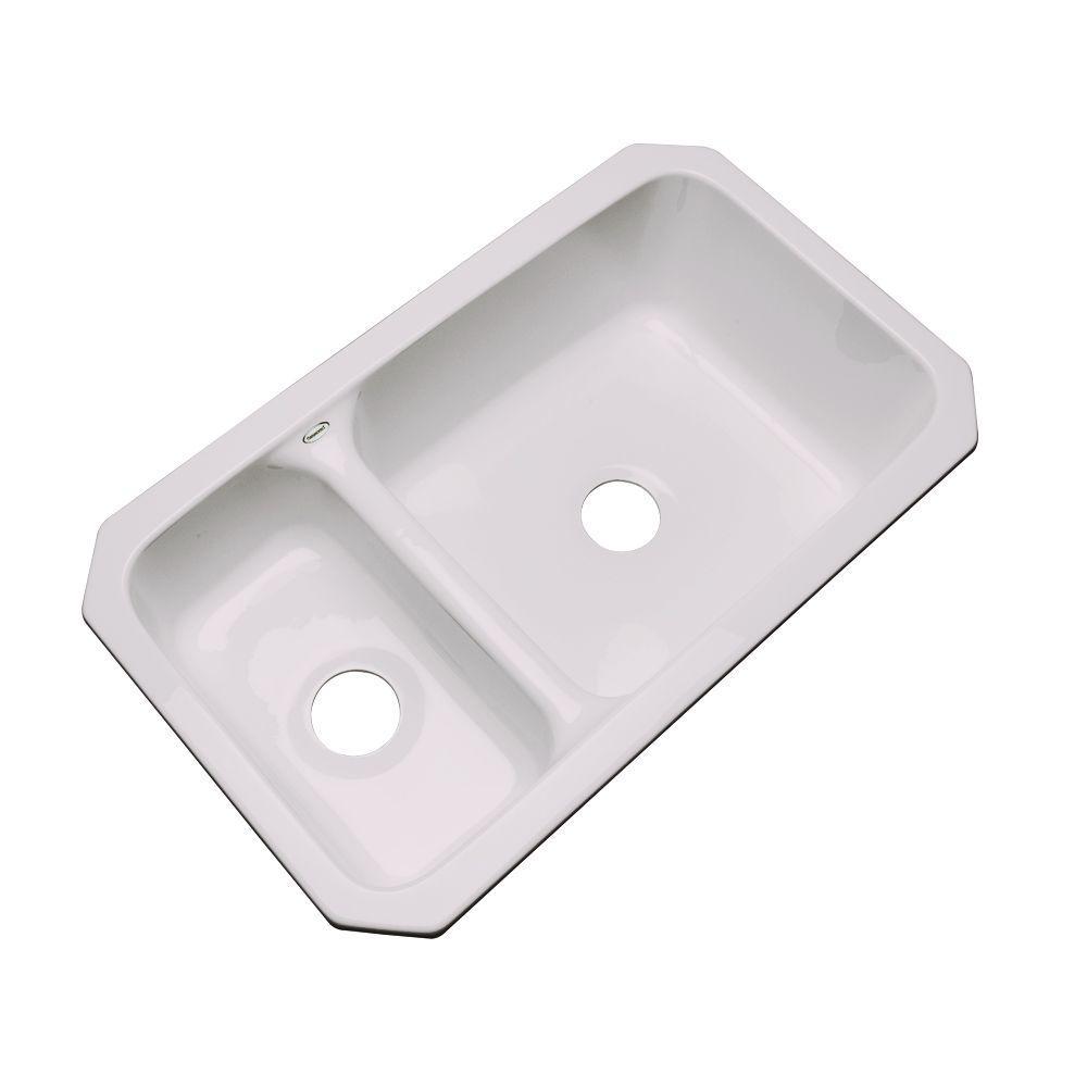 Thermocast Wyndham Undermount Acrylic 33 in. Double Bowl Kitchen Sink in Innocent Blush