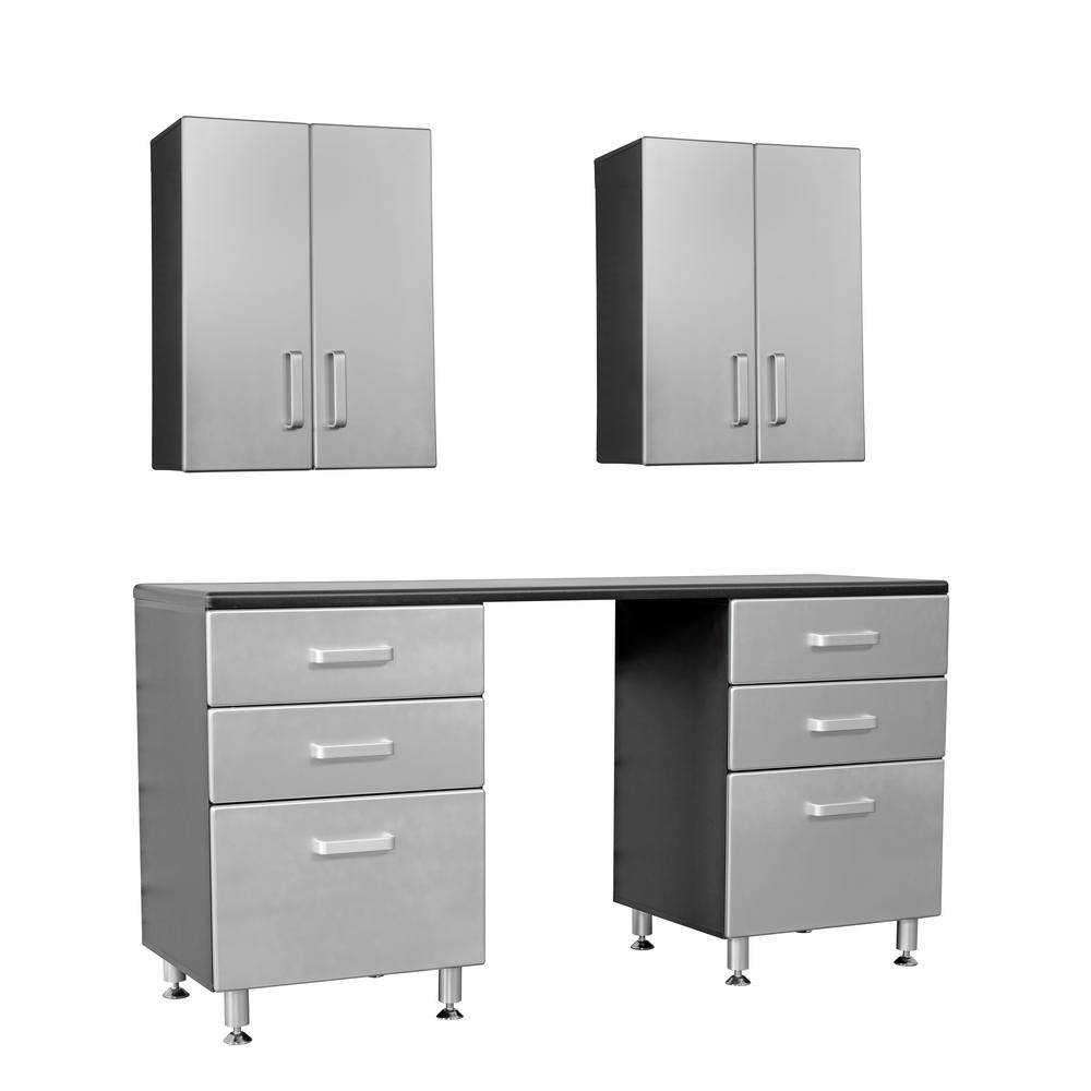 Groovy Tuff Stor Metallic Series 90 In H X 71 In W X 21 In D 5 Piece Workbench With 6 Sturdy Drawers And 2 Overhead Cabinet Gmtry Best Dining Table And Chair Ideas Images Gmtryco