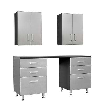 Metallic Series 90 in. H x 71 in. W x 21 in. D 5-Piece Workbench with 6-Sturdy Drawers and 2-Overhead Cabinet