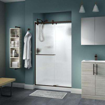 Simplicity 48 in. x 71 in. Semi-Frameless Contemporary Sliding Shower Door in Bronze with Rain Glass