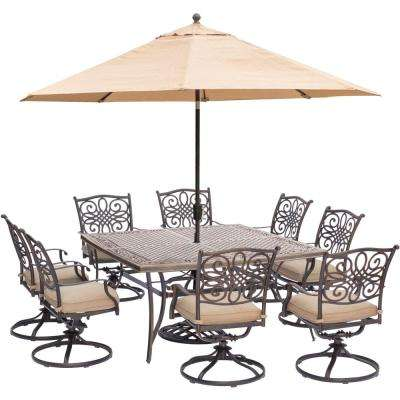 9-Piece Outdoor Dining Set with Square Cast-Top Table and Swivels with Natural Oat Cushions, Umbrella and Base