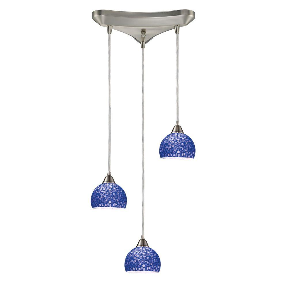 Cira 3-Light Satin Nickel Ceiling Mount Pendant