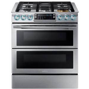 Click here to buy Samsung Flex Duo 5.8 cu. ft. Slide-In Double Oven Gas Range with Self-Cleaning Convection Oven in Stainless Steel by Samsung.