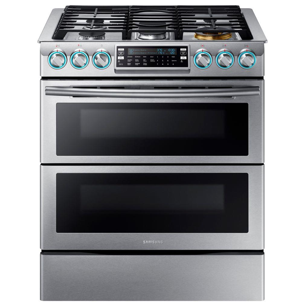 Samsung Flex Duo 5.8 cu. ft. Slide-In Double Oven Gas Range with Self-Cleaning Convection Oven in Stainless Steel