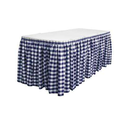 14 ft. x 29 in. Long White and Navy Polyester Gingham Checkered Table Skirt with 10 L-Clips
