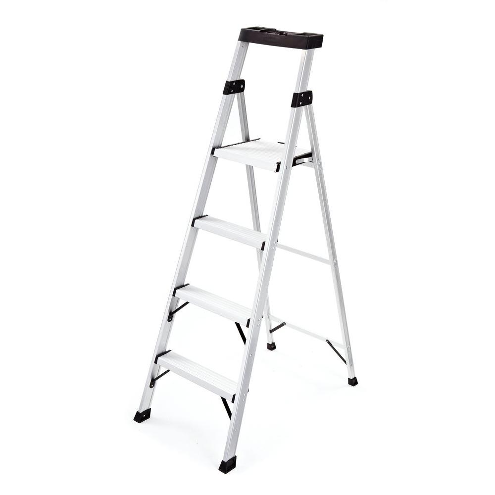 Awesome Rubbermaid 4 Step Aluminum Step Stool With 250 Lb Load Capacity Type I Duty Rating Machost Co Dining Chair Design Ideas Machostcouk