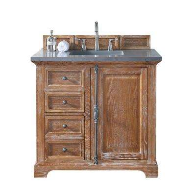 Providence 36 In. W Single Vanity In Driftwood With Quartz Vanity Top ...