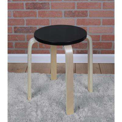 Mia Natural/Black Bentwood Accent Stool