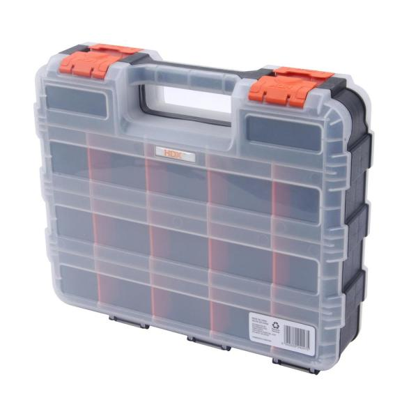 Screw Organizer /& Craft Storage beyond by BLACK+DECKER Small Parts Organizer Box with Dividers 2-Pack 17-Compartment BDST60779AEV