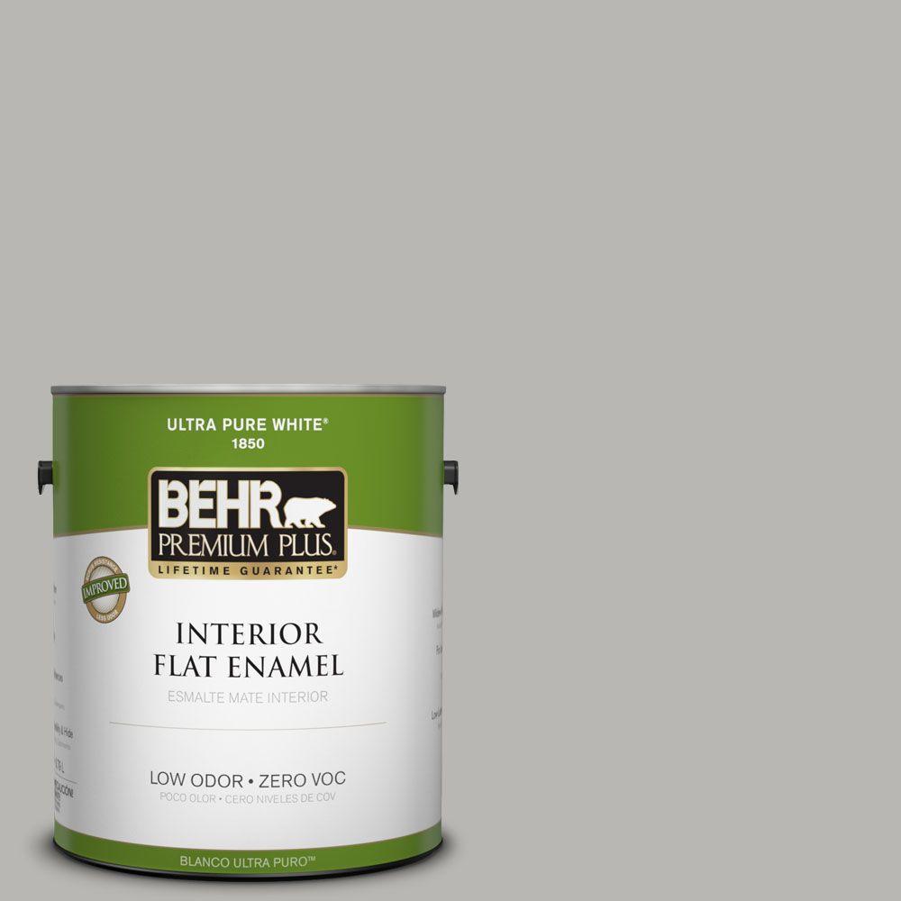 BEHR Premium Plus Home Decorators Collection 1-gal. #HDC-MD-26 Sonic Silver Zero VOC Flat Enamel Interior Paint-DISCONTINUED
