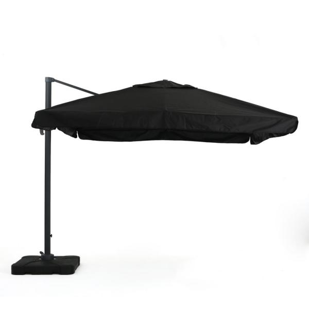 Merida 9.83 ft. Metal Cantilever Tilt Patio Umbrella in Black