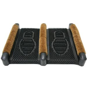 Rubber-Cal Traditional 12 inch x 16 inch Coir Boot Scraper Door Mat by Rubber-Cal