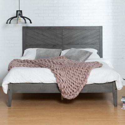 Grey Queen Solid Wood Bed