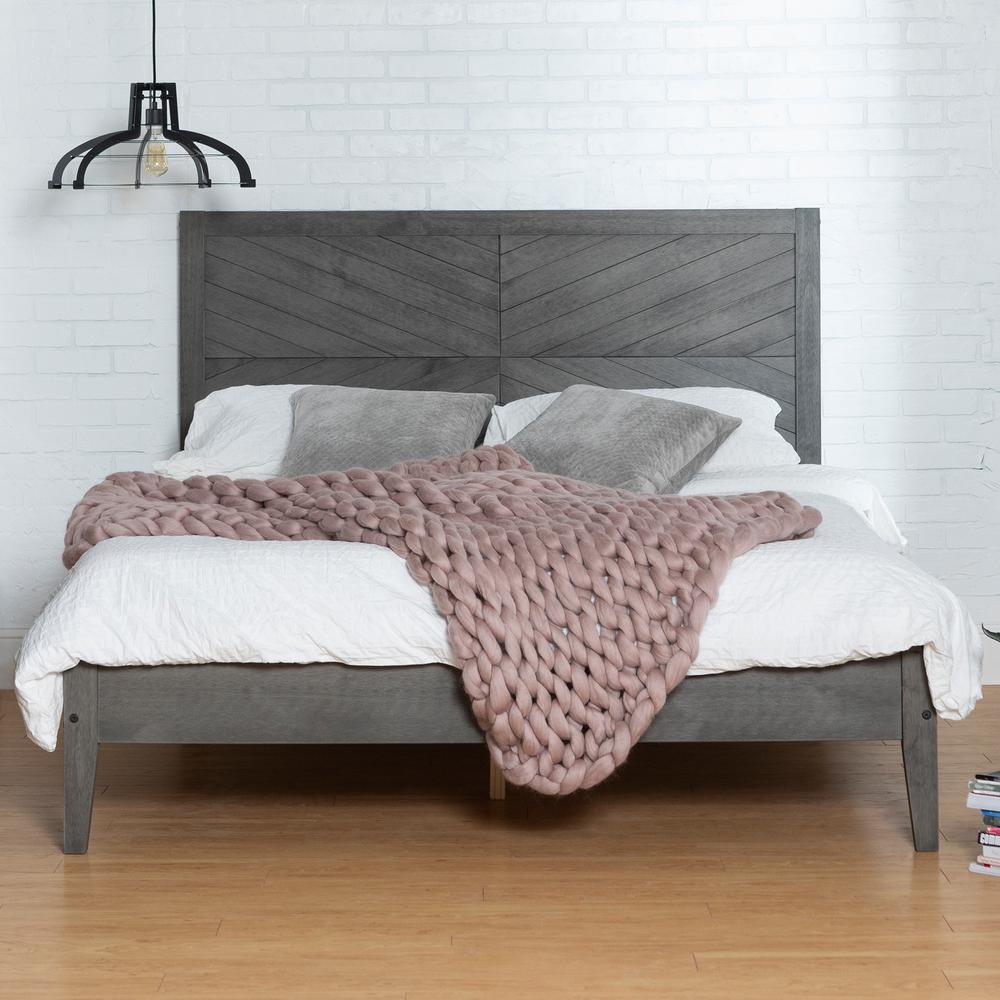 Grey Queen Solid Wood Bed