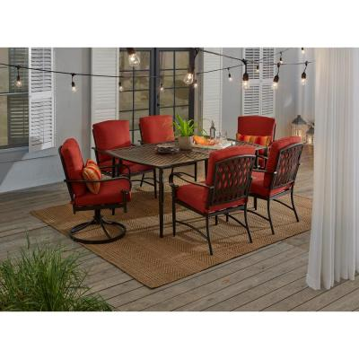 Hampton Bay Oak Cliff 7 Piece Outdoor Dining Set With 4 Stationary 2 Swivel Chairs And Chili Cushions